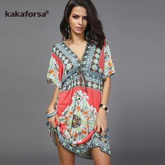 e8a50e5bae2f7 Sexy Deep V Neck Beach Cover Up Loose Pareo Print Beach Tunic Swimsuit  Cover Ups Summer Plus Size Robe De Plage - Online Retail Coupons