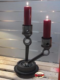 "Our ""Cruisin' Candle"" design with red candles. Made from original vintage American motorcycle parts."