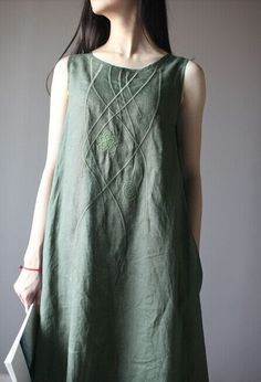 Embroidered Linen Dress in Green – Lily & Co.