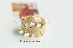 Gold Wrap around elephant ring