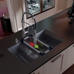 VIGO All-in-One 32-inch Stainless Steel Undermount Kitchen Sink and Edison Chrome Faucet Set | Overstock.com Shopping - The Best Deals on Sink u0026 Faucet Sets & Top 15 Black Kitchen Sink Designs | N E S T | Kitchen sink design ...