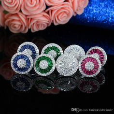 2017 Luxury Fashion Pizza Stud Earrings Colorful Cz Stone Diamond Paved Women Bijouterie Brazil Classical Jewelry For Party Brass Aretes Earring From Fantasticdreamer, $8.75 | Dhgate.Com