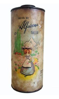 PHEBO - anos 40/50 TALCO era um cosmético muito usado pelas mulheres (e em bebês) nos anos 50/60 (bem mais que agora). Esses abaixo faziam grande sucesso. Suas embalagens eram cilíndricas, de papelão rígido e tinham frente e fundo de metal (a tampa era de rosca).