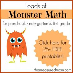 Monster Math Games & Activities - with loads of free printables for preschool, kindergarten, and first grade - The Measured Mom