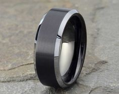 Black Brushed Tungsten Wedding Band, Mens Wedding Band, Domed Mens Ring, Polished Beveled Edge, Mens Tungsten Ring, Anniversary, 8mm band by LALaserEngraving