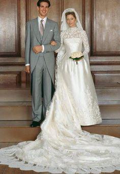 The wedding of Crown Prince Pavlos of Greece and Marie-Chantal Miller (Princess Marie-Chantal), 1 July 1995 Royal Wedding Gowns, Royal Weddings, Wedding Dresses, Adele, Marie Chantal Of Greece, Greek Royalty, Greek Royal Family, Royal Brides, Celebrity Weddings