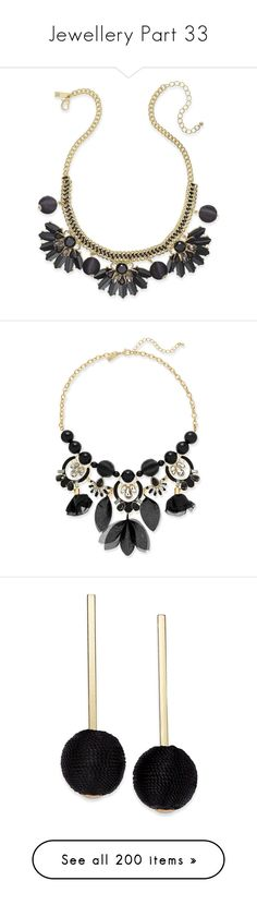 """""""Jewellery Part 33"""" by leanne-mcclean ❤ liked on Polyvore featuring jewelry, necklaces, black, stone jewelry, woven necklace, ball necklace, gold tone necklace, braid jewelry, gold colored necklace and crystal statement necklace"""