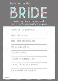 Here Comes the Bride: For this fun game ($5), the results rely on answers from the groom. Disclaimer: guys can be tricky!