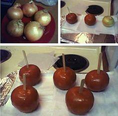 des oignons au caramel à la place de pomme d'amour...