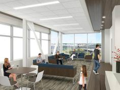 "New ""sky lobby"" spaces will afford high views of the Elizabeth River through electrochromic glass that darkens with sunlight and heat while preserving exterior visibility. Credit: Sentara Healthcare/HDR."