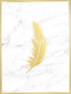Print with marble and a gold feather. Find more lovely gold prints in our webshop www.desenio.com
