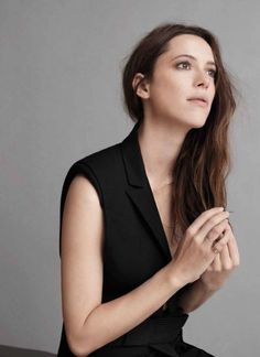 Rebecca Hall wearing MAKE in WSJ Magazine. Lips in Nude, eyes in Very Brown liner, brows in Cool