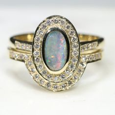 Natural Australian Solid Opal and Diamond Gold Engagement and Wedding ring Set  Size - 7.25 Code -RL10 10k Gold Ring, Diamond Wedding Rings, Gold Rings, Gemstone Rings, Natural Opal, Natural Diamonds, Gold Ring Designs, Australian Opal, Opal Jewelry