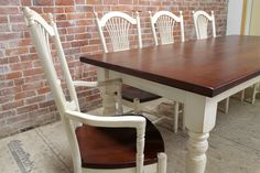 amazing farm table,  reclaimed pine with white turned legs,