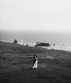 by the sea wedding picture | bride and groom