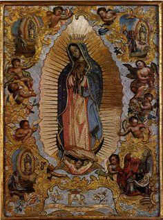 C. M. S. (autor no identificado), Virgen de Guadalupe con las cuatro apariciones, óleo, hilo pegado y lentejuelas, sin medidas, ca. 1750-1815, colección particular, catalogación: Juan Carlos Cancino.