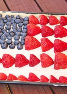 We love this Skinny Mom, patriotic Skinny American Flag Fruit Pizza! Perfect for July 4 or just add any fruit on top to make a fruit pizza for any occasion.