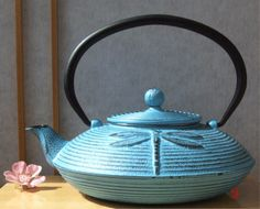 Cast Iron Light Blue Đragonfly Tetsubin teapot kettle