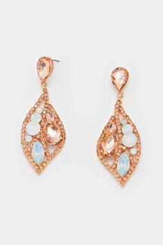 Crystal Bia Earrings in Rose Champagne