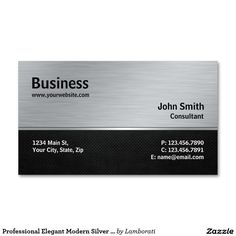 専門のエレガントでモダンな銀および黒い金属 スタンダード名刺