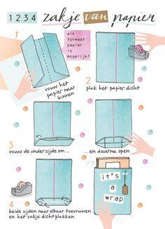 Snel inpakken: papieren cadeauzakken Tutorial how to fold a quick giftbag. Illustrated by Karen Weening Diy Paper Bag, Paper Gifts, Paper Gift Bags, Diy Sac Papier, Diy Sac Cadeau, Origami Bag, Pen Pal Letters, Diy Envelope, Origami Envelope