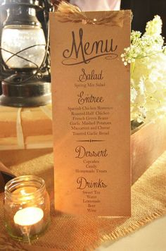 How To Choose A Tasty Wedding Menu – Wedding Candles Ideas Wedding Dinner Menu, Wedding Menu Cards, Wedding Stationary, Wedding Programs, Wedding Table, Wedding Invitations, Rustic Wedding Menu, Wedding Catering, Plan Your Wedding