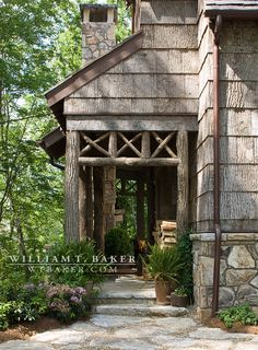 Mountain House | William T. Baker | bark, bark siding, side entrance