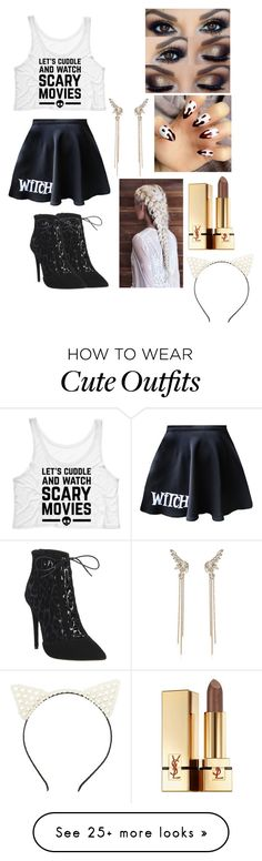 """Halloween!! on trend and cute outfit/ I guess costume!"" by kyleehart32 on Polyvore featuring Office, Yves Saint Laurent, Charlotte Russe and River Island"