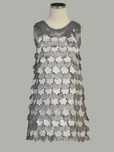 Silver Flounce Flowers Taffeta Dress