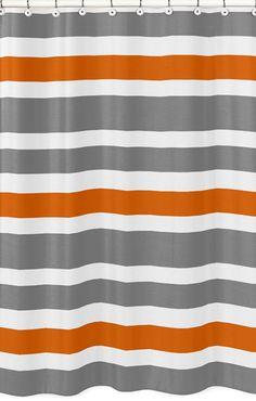 Gray And Orange Shower Curtain Gray and Orange Stripe Kids
