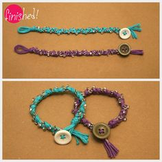 DIY Bracelets in BonBons    (tutorial, braided bracelet, fashion accessories)    Just braid a few strands of Bonbons yarn with a chain, interlaced with a bead per braid. (Click on link for directions and info)