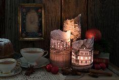 Gebastelte Windlichter aus Papier mit Stadtmotiv Inspiration, Painting, Art, Paper, Decorating Ideas, Creative, Repurposed, Candles, Do Crafts