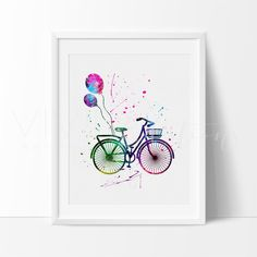 Balloon Bicyle Hipster Watercolor Nursery Art Print Wall Decor