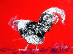 Rooster art, cafe art, animal paintings, kitchen art, home decor, country living, cottage decor, country style,