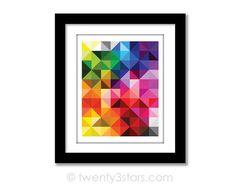 Cette belle toile abstraite ou impression d'art est très accrocheur. Les formes triangulaires et les couleurs font une belle déclaration pour n'importe quel mur. Superbe, peu importe la façon dont vous l'accrocher! DES COULEURS PERSONNALISÉES SONT DISPONIBLES. ★ Sur commande ★