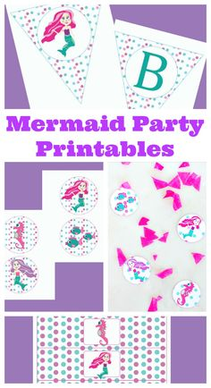 Mermaid party printables to make the perfect mermaid party with all the decorations you need with these printable party decorations! Kids Party Themes, Birthday Party Themes, Themed Parties, 7th Birthday, Party Ideas, Diy Mermaid Birthday Party, Little Mermaid Parties, Summer Pool Party, Mermaid Diy