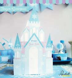 Frozen Centerpiece for Frozen Birthday Party. Personalized Frozen Castle Centerpiece with paper box in the middle to fill with candies! on Etsy, $7.00