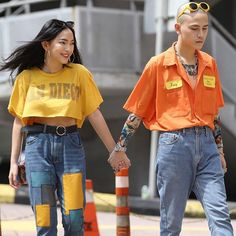 This is my favourite type of couples outfits! It's subtle matching in colour pallets or in patterns and it just looks really good! Fashion Couple, 90s Fashion, Korean Fashion, Fashion Outfits, Womens Fashion, Bowling Outfit, Tokyo Street Style, Stylish Couple, Couple Outfits