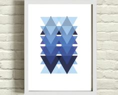 Triangle Art Deco Pattern Art Print Blue 8x10