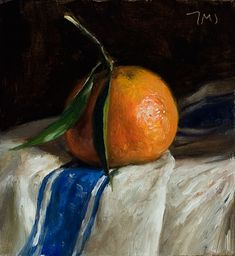 daily painting titled Clementine on a french cloth - click for enlargement