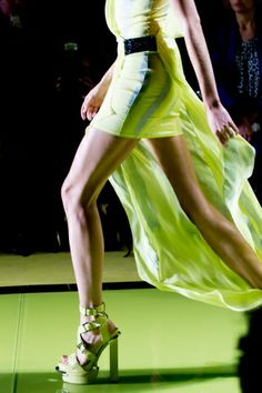 Versace Spring 2014 Green Lemon Runway Dress Sandals Fashion