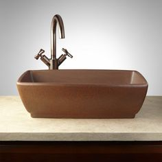 Penfield+Hand-Glazed+Pottery+Vessel+Sink+-+Deep+Sienna