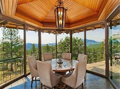 Imagine sitting down to lunch in this panoramic dinning room. Living Room And Dining Room Design, Sunroom Dining, Dining Rooms, Pulte Homes, Huge Houses, Outdoor Spaces, Outdoor Living, Glass House, Estate Homes
