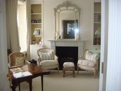 Almost finished living room Natural Calico walls and Farrow and Ball in bookshelves