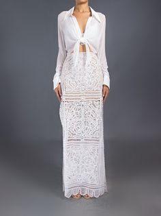 Martha Medeiros - Saia longa branca 7 Lace Dress, White Dress, Crochet Skirts, Glamour, Needle Lace, Formal Dresses, Wedding Dresses, Ideias Fashion, Party Dress