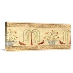 """East Urban Home 'Willow Basket Border' Print Format: Wrapped Canvas, Size: 30"""" H x 30"""" W"""