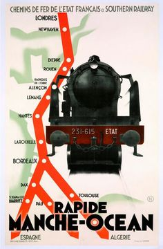 French railway poster, France, c. 'Rapide Manche-Ocean' A rare, original French railway poster designed as a stylised map of the Southern Railway network and French railway, featuring key cities en-route to the south of France.