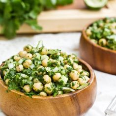 Cilantro Lime Chickpea Salad  •One 15-oz can chickpeas (2 cups cooked), drained and rinsed  •2 cups spinach  •1/4 cup sweet onion, chopped finely  •Juice from 1.5 limes  •3/4 cup fresh Cilantro  •1/2 tsp sugar (or to taste)  •2 tsp Dijon mustard  •1 garlic clove  •1 tsp extra virgin olive oil  •1/2 tsp ground cumin  •1/2 tsp kosher salt + ground pepper