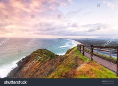 Cape Byron in Byron Bay on Australia's East Coast, looking back towards Tallows Beach and Suffolk Park