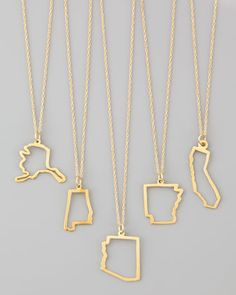 14k Gold Necklace, Alabama-Missouri & Long Island - Maya Brenner Designs #georgia